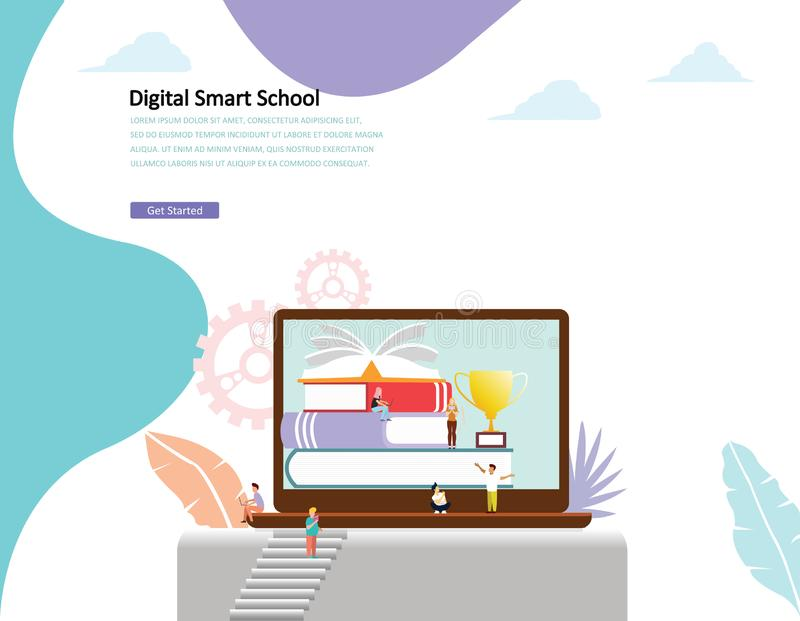 Online education vector illustration concept men and women reading book by online vector illustration