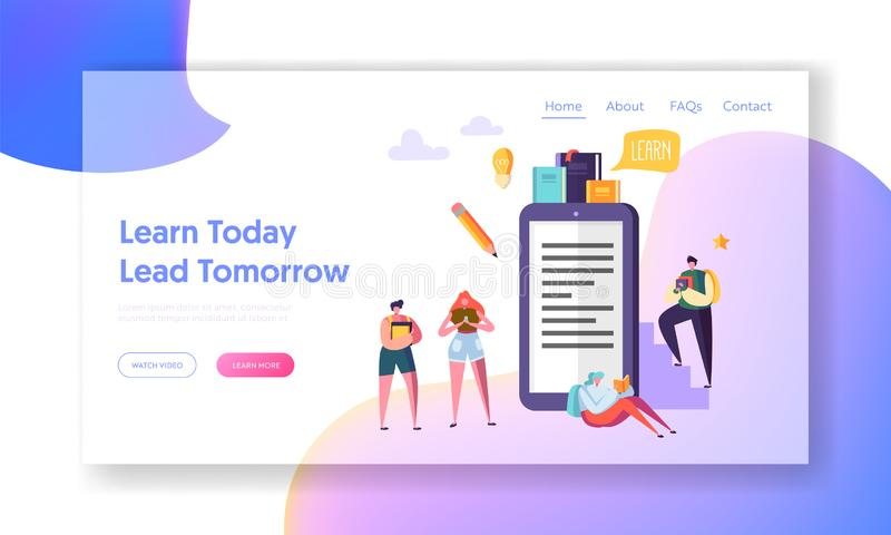 Online Education Video Training Course Landing Page. Student Character Learn Digital Book Webinar Future Teaching School. Online Education Video Training Course royalty free illustration