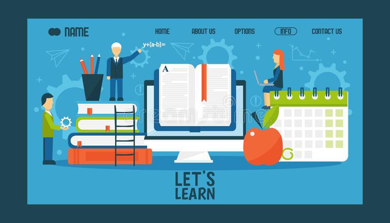 Online education website design, vector illustration. College or university landing page, flat style characters with. Large scale books. Educational web site stock illustration