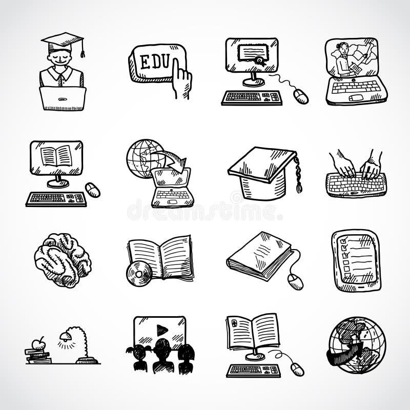 Online edukaci ikony nakreślenie royalty ilustracja