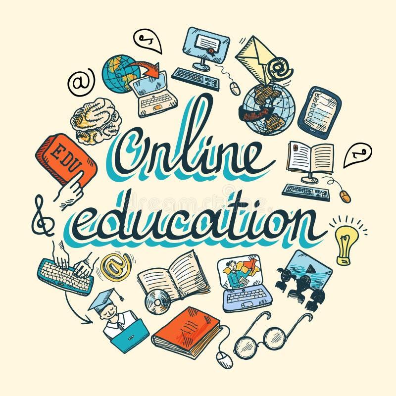 Online edukaci ikony nakreślenie ilustracja wektor