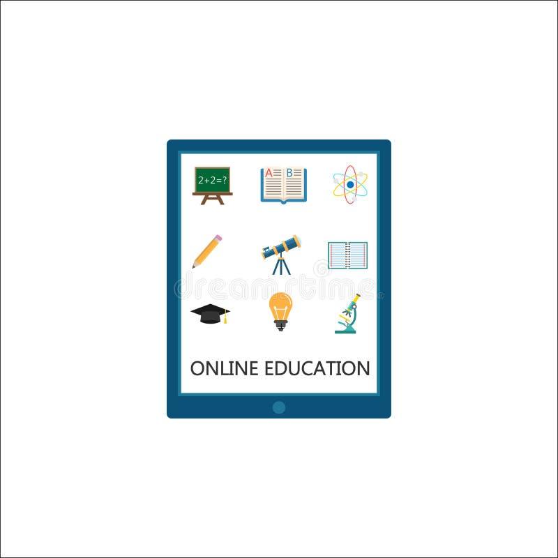 Online edukaci ikony płaski set, nauczanie online royalty ilustracja