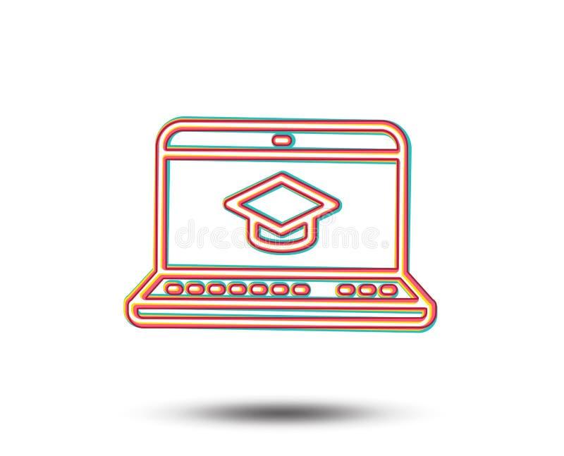 Online edukaci linii ikona Notatnika znak ilustracji