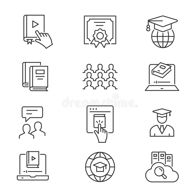 Online edukaci linii ikony ustawia? Czarny Wektorowa ilustracja Editable uderzenie ilustracja wektor