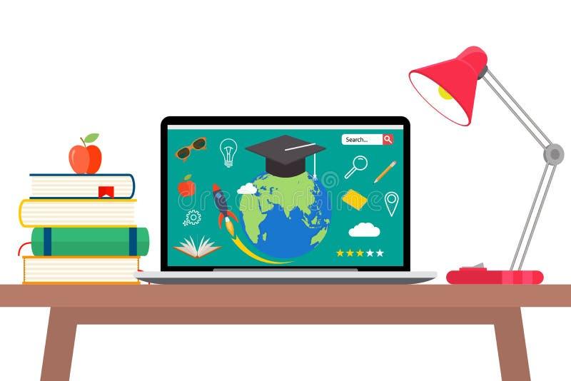 Online edukaci płaski horyzontalny sztandar ustawiający z dystansowymi tutorials i szkolenie elementami odizolowywał wektorową il ilustracja wektor