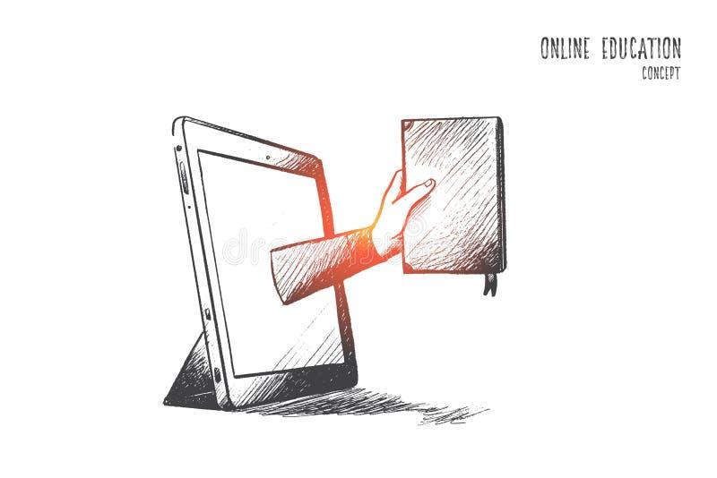 Online edukaci pojęcie Ręka rysujący odosobniony wektor ilustracji