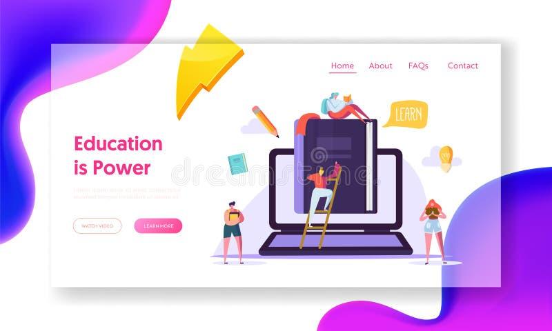 Online edukacja biznesu lądowania Kursowa strona Studencki szkolenie Digital książki technologią Sieć Wideo Biblioteczny pomysł ilustracja wektor