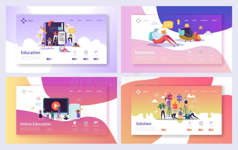 Online edukacja kursu lądowania strony set Dystansowego szkolenia Biznesowej technologii Abstrakcjonistyczny projekt Internetowy  ilustracji