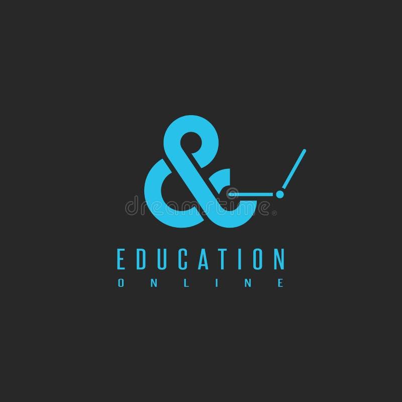 Online edukacja logo, pojęcie uczenie uniwersytecka technologia w sieci, sylwetka uczeń w widoku ampersand z laptopem ilustracji