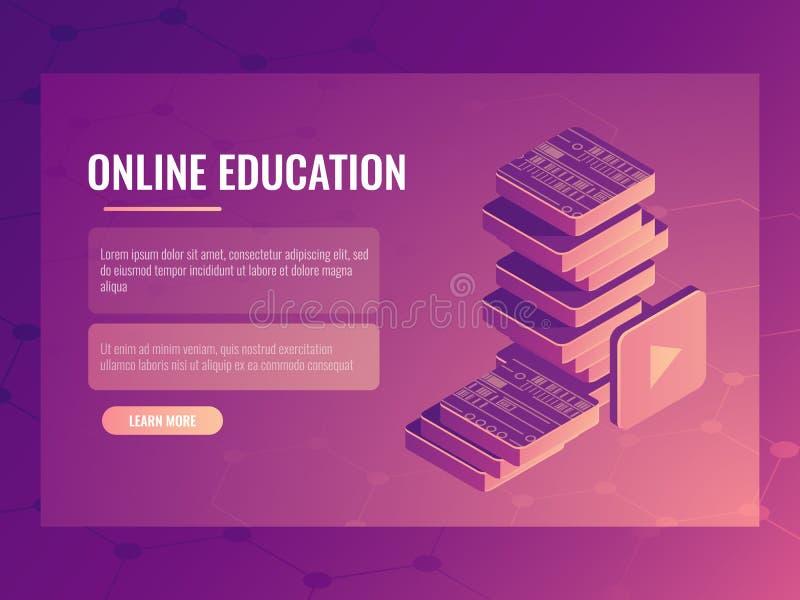 Online edukacja sztandar, isometric wektorowi elektroniczni kursy i tutorials, cyfrowe książki ilustracja wektor