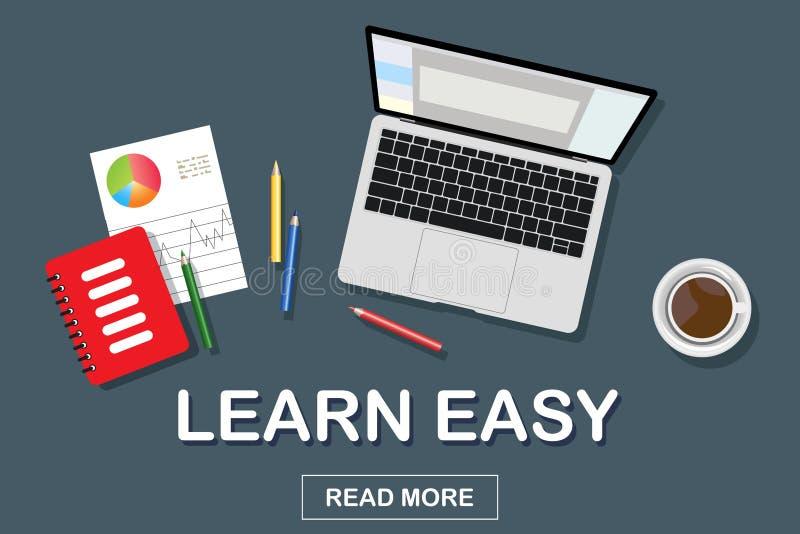Online edukacja sztandar, kursy treningowi, nauczanie online Slogan jest ?atwy uczy? si? Pomys? dla sztandaru lub miejsca wektor ilustracja wektor