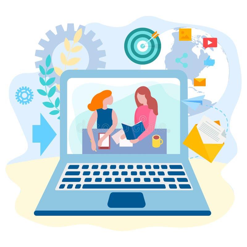 Online edukacja, trenuje używać nowożytne Internetowe technologie, c ilustracja wektor