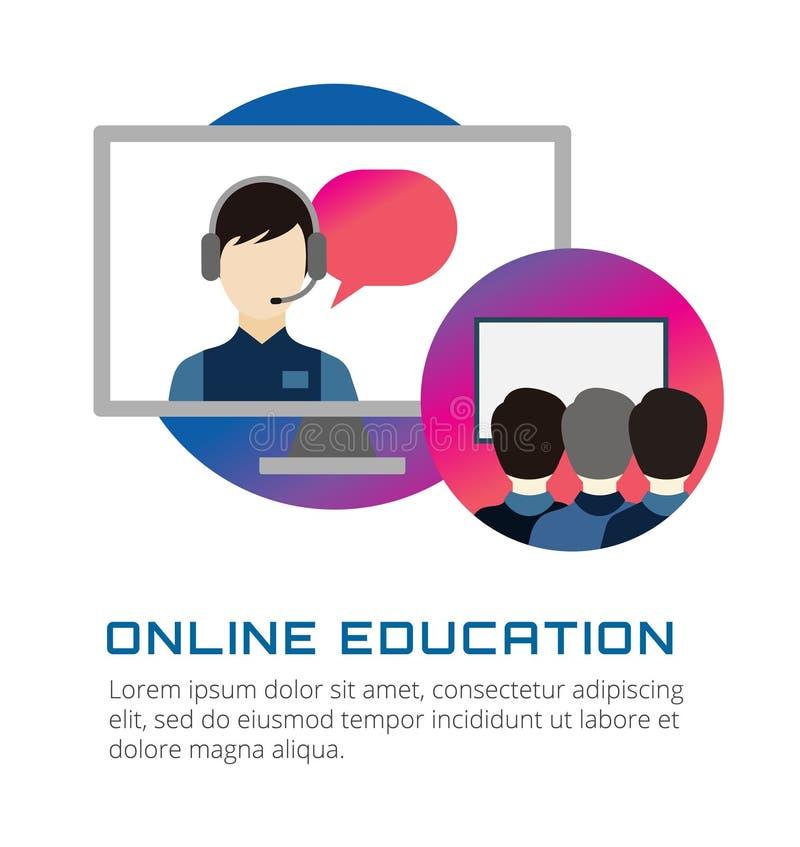 Online edukacja wektoru ikony Webinar, szkoła ilustracja wektor