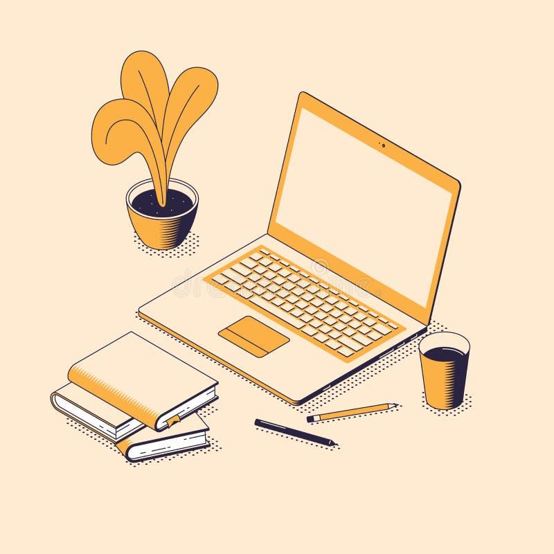 Online edukacji isometric wektorowa ilustracja z laptopem, rozsypisko papierowe książki i ołówki, ilustracja wektor