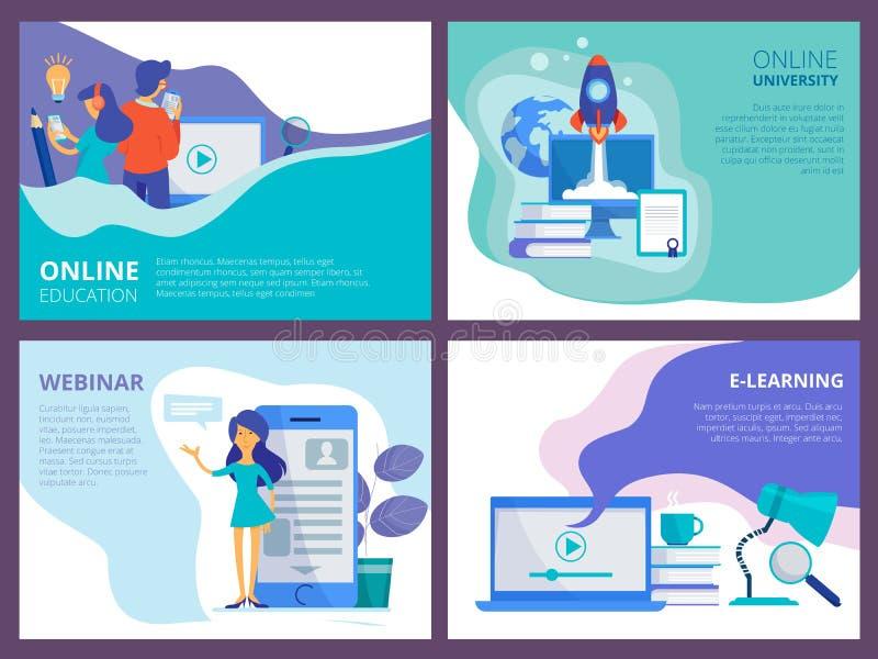 Online edukacji l?dowanie Strony internetowej promo strony szablon dla dystansowych kursów lub wektorowego ui układu szkoleń i tu royalty ilustracja