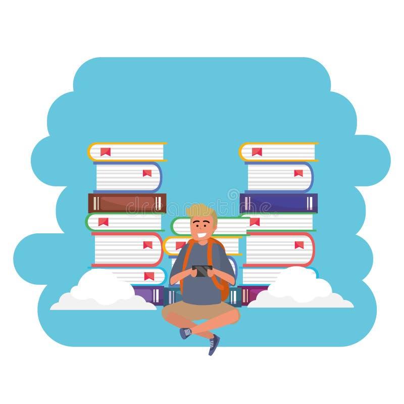 Online edukacji millenial studenckie ksi??kowe sterty bryzgaj? ram? ilustracji