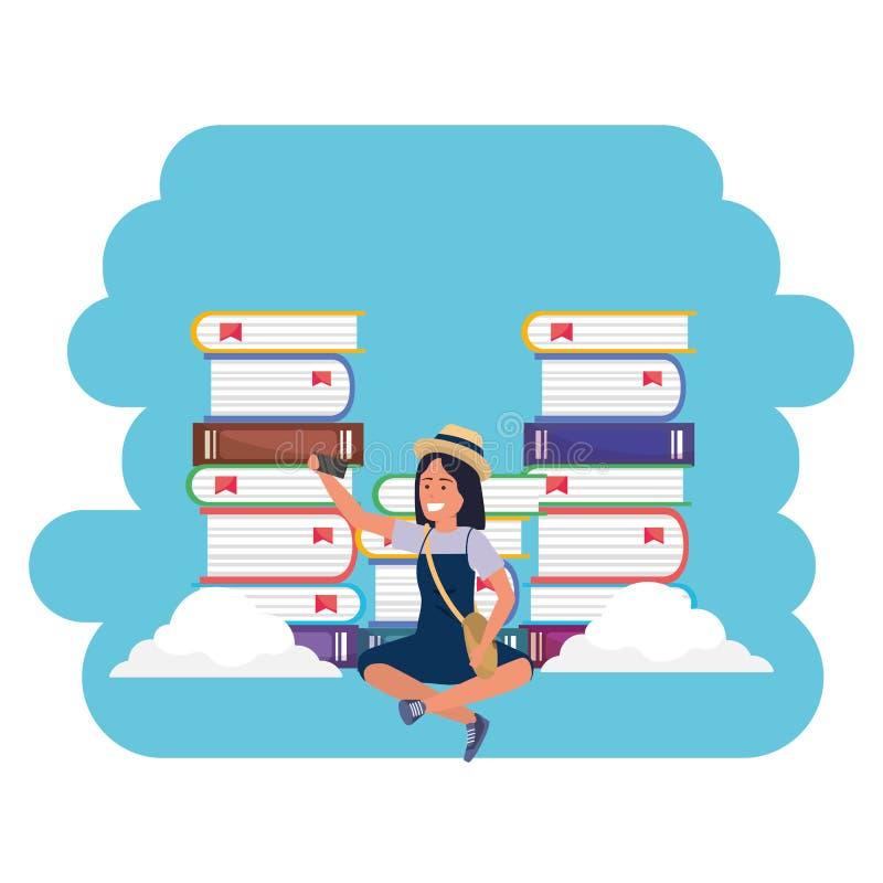 Online edukacji millenial studenckie ksi??kowe sterty bryzgaj? ram? royalty ilustracja