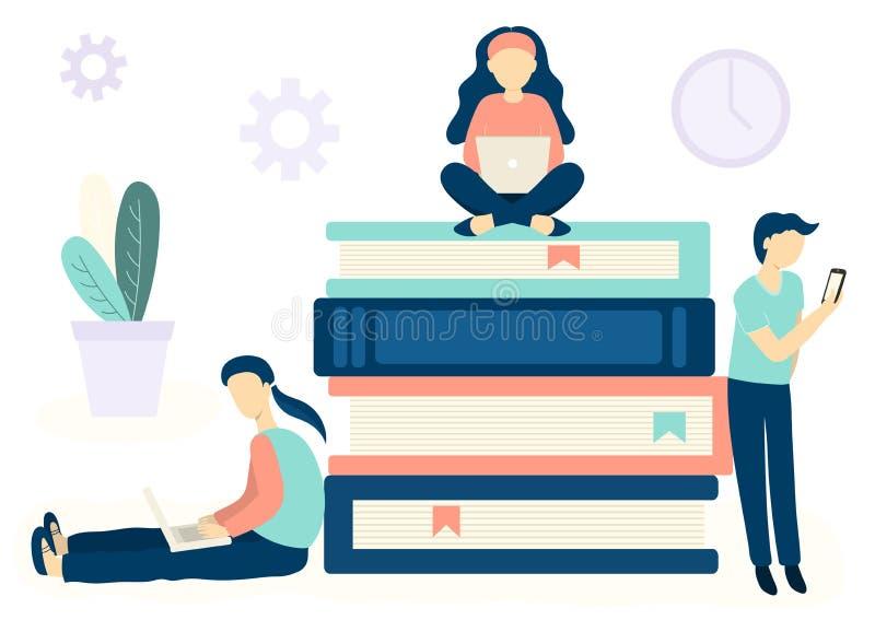 Online edukacji pojęcie dla sieć projekta Ludzie siedzi na książkach i uczy się z różnymi przyrządami ilustracji