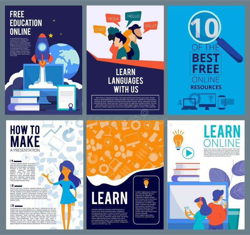 Online edukacji ulotki Broszurka okładkowy szablon interneta dystansowego uczenie prezentacji plakatów webinar szablon ilustracja wektor