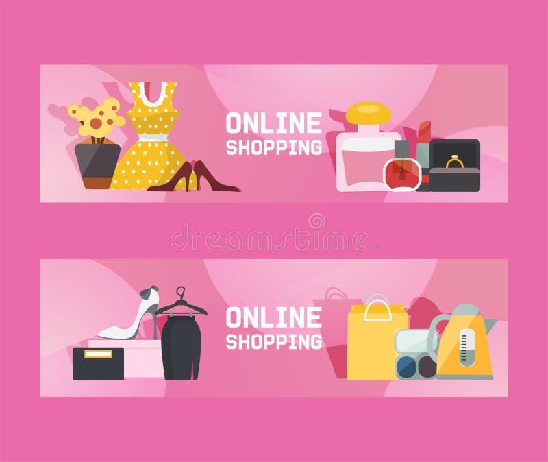 Online-Einkauf für Damen-Vektorgrafik Großverkauf Elektronik-, Duftstoff-, Schmuck- und Frauentücher Making lizenzfreie abbildung