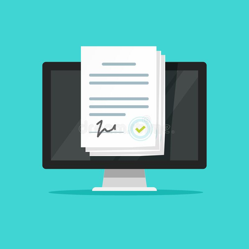 Online electronic documents on laptop vector illustration, flat cartoon paper document with signature on computer screen. Online electronic documents on laptop vector illustration