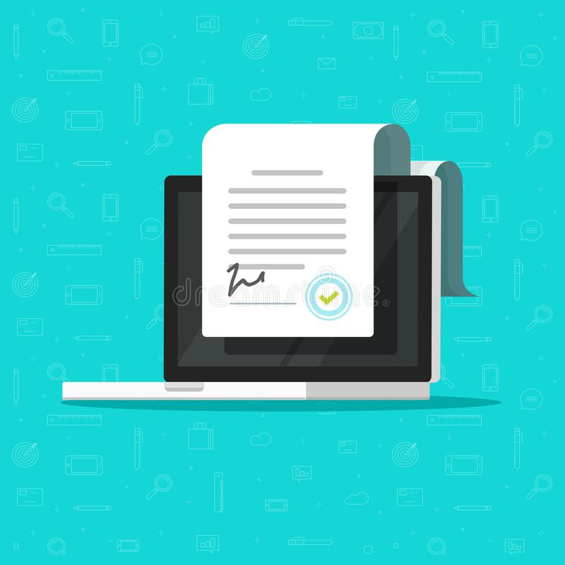 Online electronic smart contract document on laptop vector illustration, cartoon paper document, signature on computer. Online electronic smart contract document stock illustration