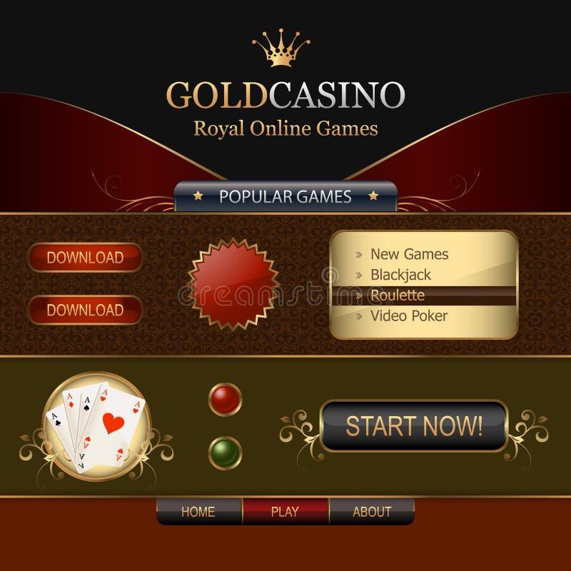 Online-element för kasinorengöringsdukmall royaltyfri illustrationer