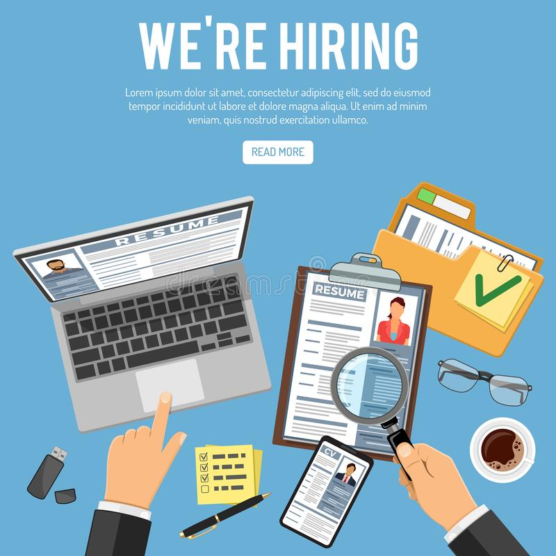 Online Employment and Hiring Concept. Online employment, recruitment and hiring concept. Internet job agency human resources. Hand with laptop, magnifier, job vector illustration