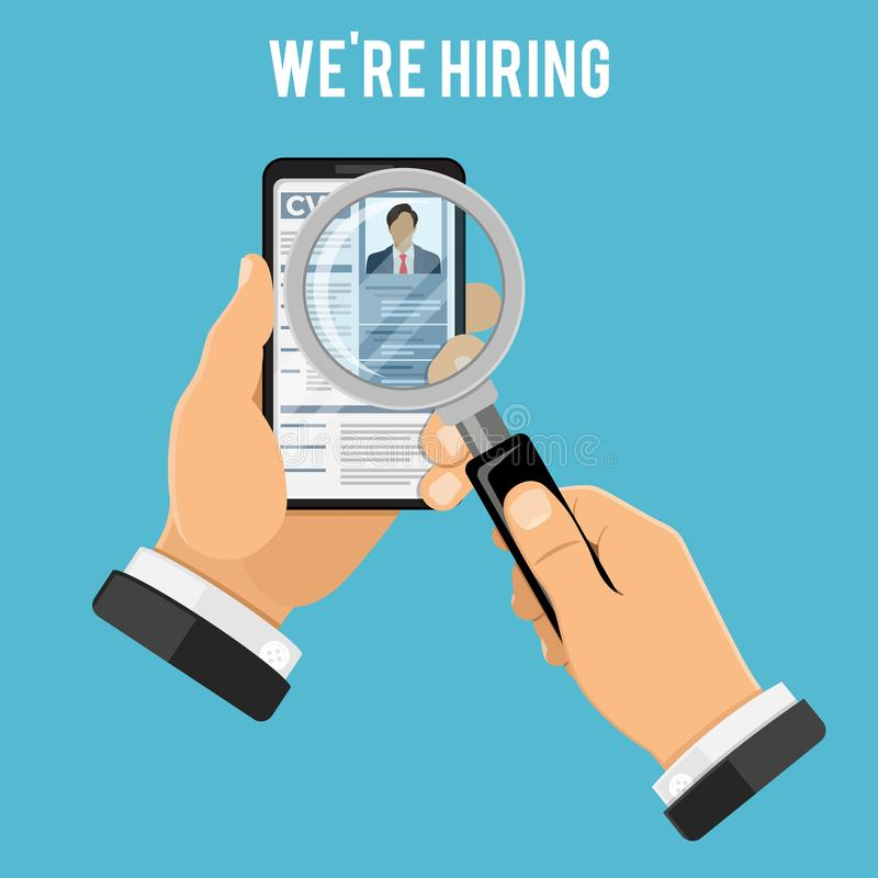 Online Employment and Hiring Concept. Online employment, recruitment and hiring concept. Internet job agency human resources. Hand with phone and magnifier, job vector illustration
