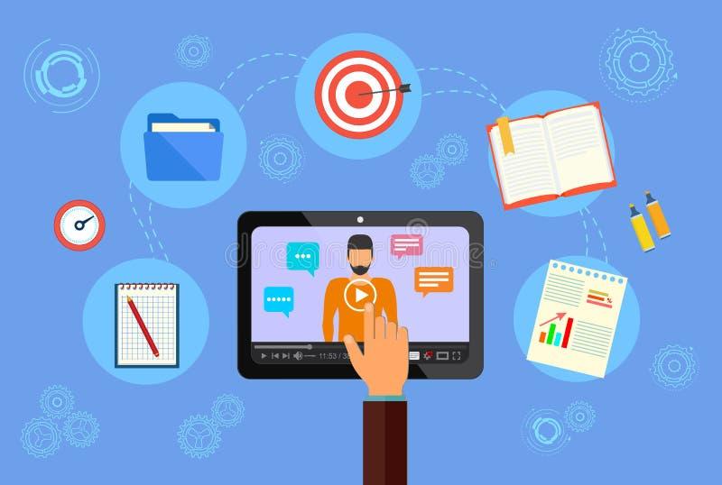 Online erlernend Geschäfts-pädagogisches Konzept Webinar, zum von Dienstleistungen im Internet zu fördern vektor abbildung