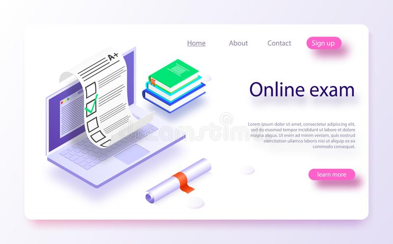 Online exam computer web app. Isometric laptop with paper document printing from screen. Isometric vector concept online exam, questionnaire form, online royalty free illustration