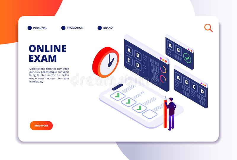Online exam isometric concept. Internet questionnaire, quiz application for student testing. Survey examination landing. Vector page. Illustration of online vector illustration
