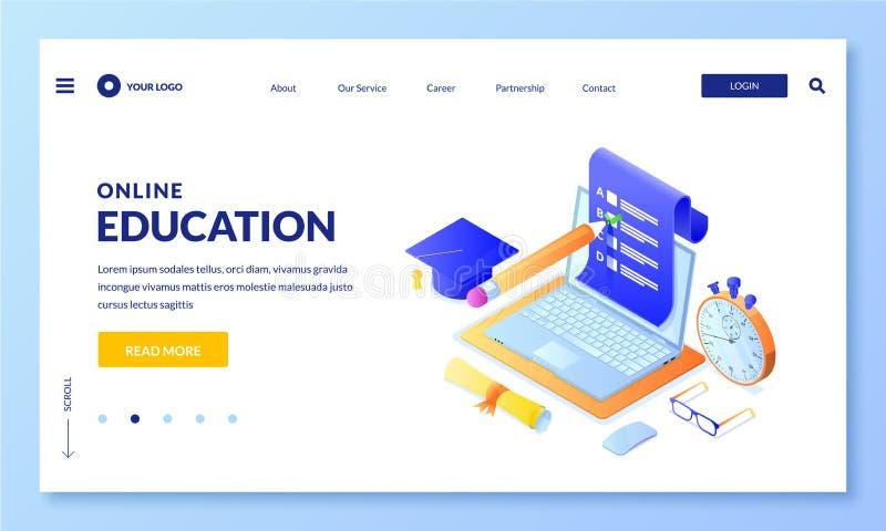 Online exam test vector 3d isometric illustration. Landing page banner template. Internet education, learning concept. Online exam test vector 3d isometric royalty free illustration
