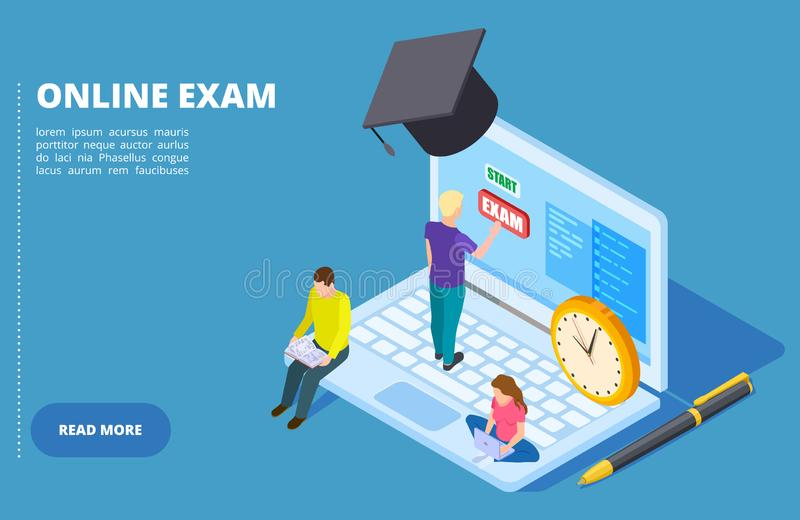 Online exam vector isometric. Online education and examination concept with students stock illustration