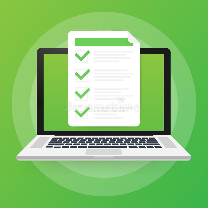 Online-examen, kontrollista och blyertspenna som väljer svar, frågeformulärform som tar provvektorillustrationen royaltyfri illustrationer