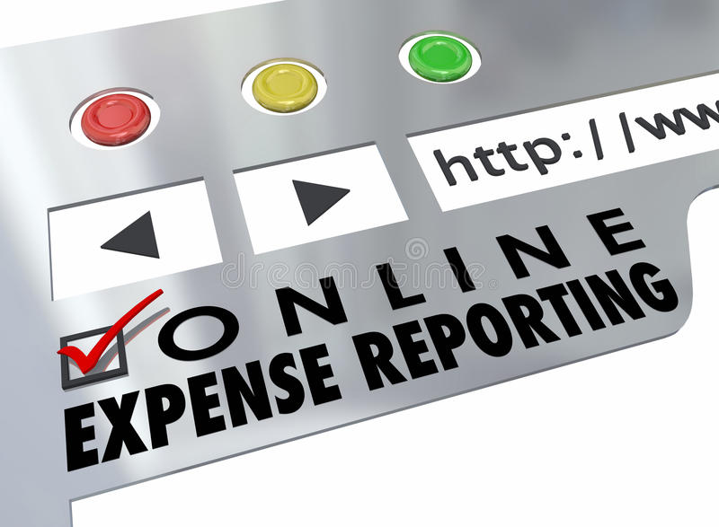 Online Expense Reporting Website Online Receipt Entry. Online Expense Reporting words on a website browser for entering receipts for payment reimbursement royalty free illustration