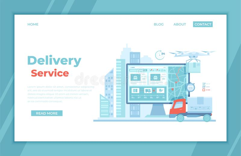 Online Express Delivery Service , Order Tracking. Truck, monitor with delivery site, map, city background, quadcopter courier, royalty free illustration