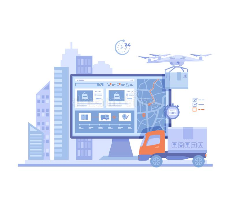 Online Express Delivery Service , Order Tracking. Truck, monitor with delivery site, map, city background, quadcopter courier. Postal drone, parcel boxes stock illustration