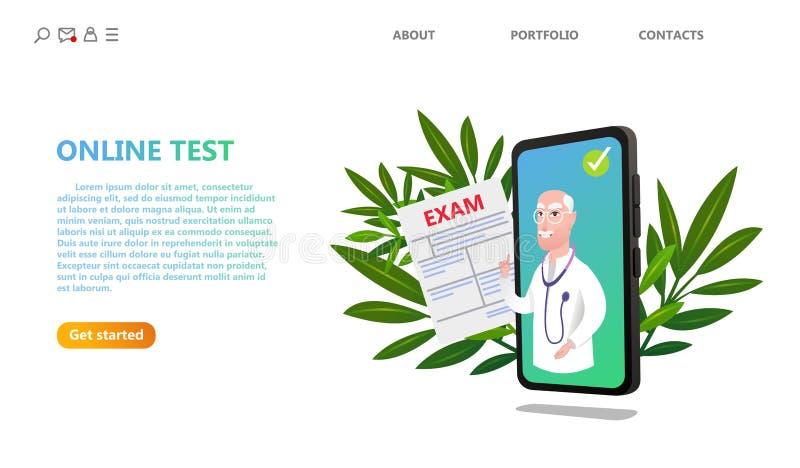 Online-för provsjukvård för medicinsk examen teknologi stock illustrationer