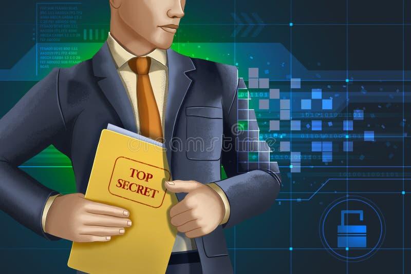 Online-företags spionage vektor illustrationer