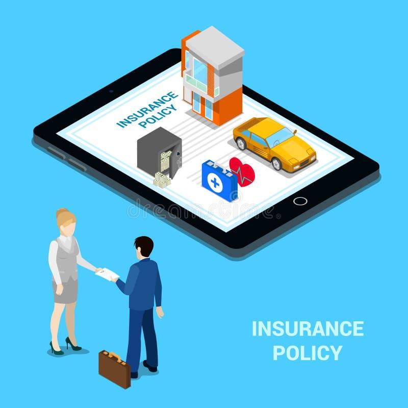 Online-försäkringbegrepp Försäkringservice - husförsäkring, bilförsäkring, medicinsk försäkring, pengarförsäkring royaltyfri illustrationer