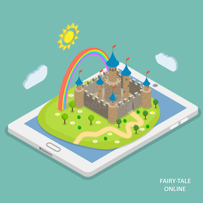 Online fairy tale reading isometric vector. vector illustration