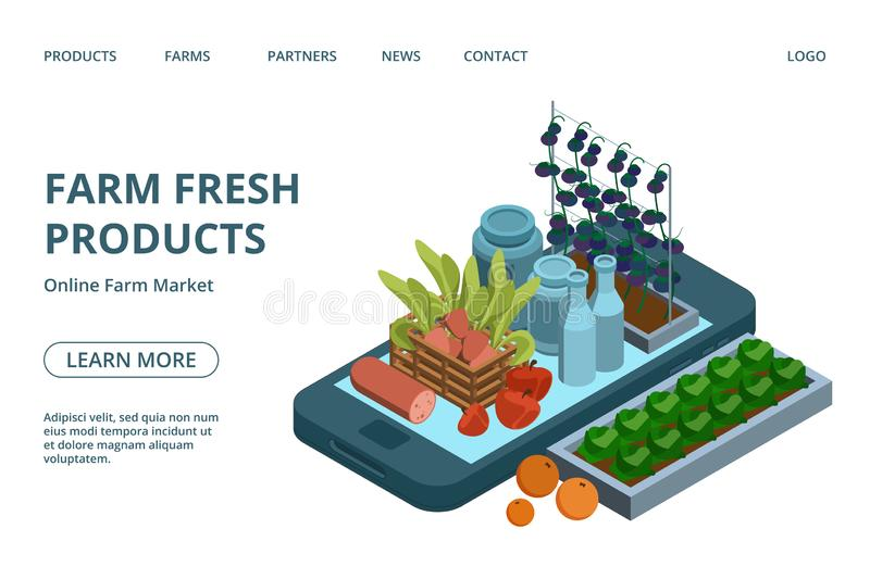 Online farm products web page template. Vector isometric organic green, fruits, dairy, meat on phone landing design vector illustration