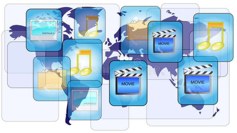 Download Online File Sharing With World Map Stock Photos - Image: 23677113