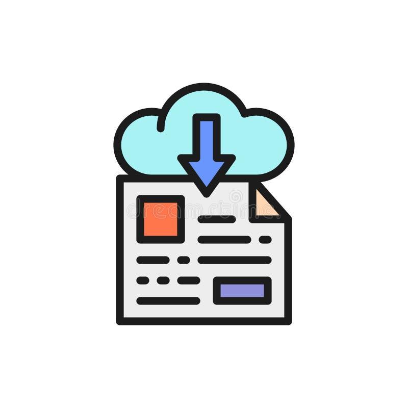 Online file storage, download flat color line icon. Vector online file storage, download flat color line icon. Symbol and sign illustration design. Isolated on stock illustration