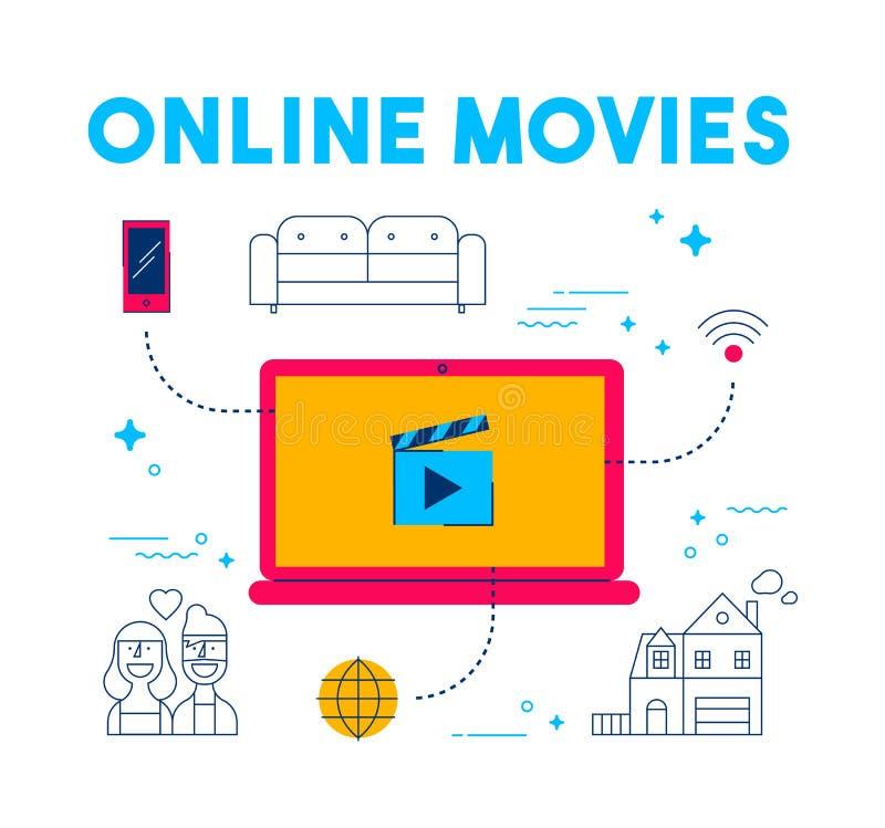 Online film en TV die app de dienstconcept stromen stock illustratie