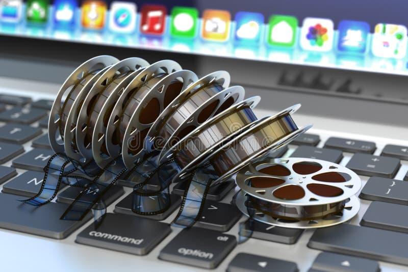 Online-filmbiobegrepp, internetvideo och multimediainnehåll vektor illustrationer
