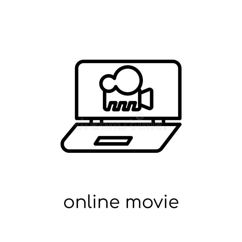 Online filmpictogram In moderne vlakke lineaire vector Online film vector illustratie