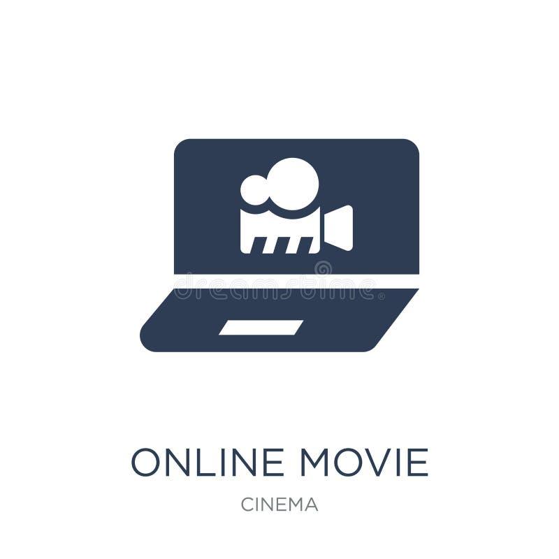 Online-filmsymbol Online-filmsymbol för moderiktig plan vektor på vit vektor illustrationer