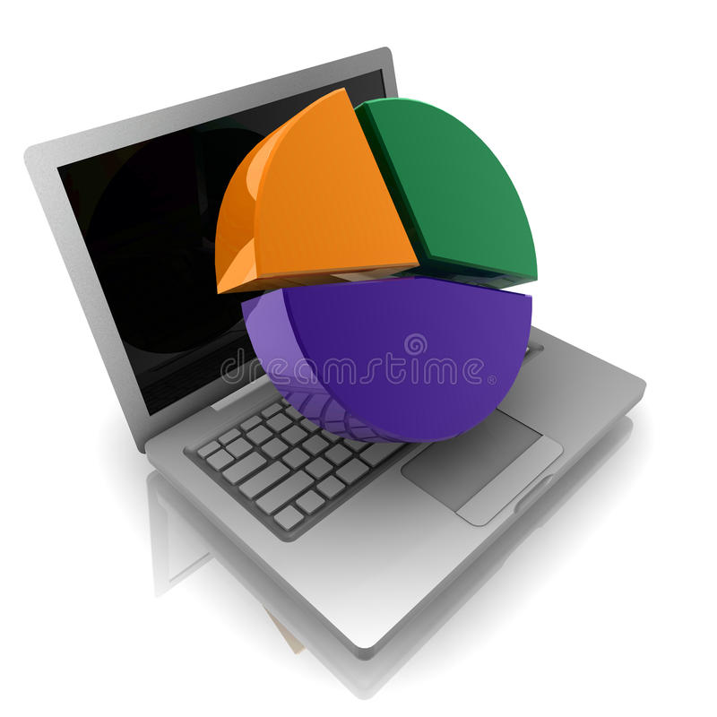Online finance pie chart vector illustration